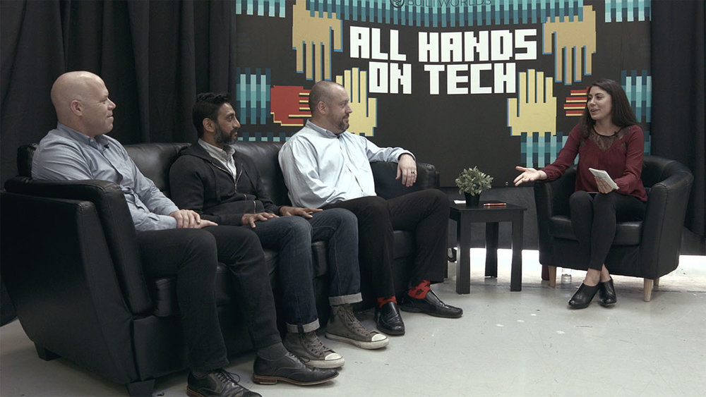 "Alexis Chastain speaks with (from left) Boaz Ashkenazy, Sanjay Mistry, and Lucas Richmond about the state of AR/VR in the construction and design fields for ""All Hands on Tech."""
