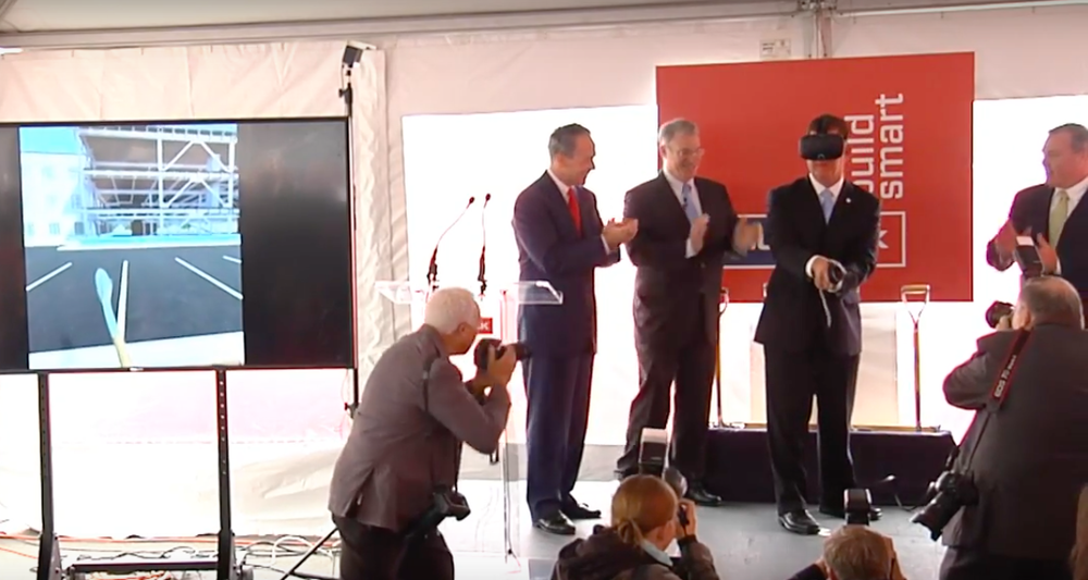 Turning virtual dirt: Boston Mayor Marty Walsh was the first to try out the VR headset at this month's ceremony.
