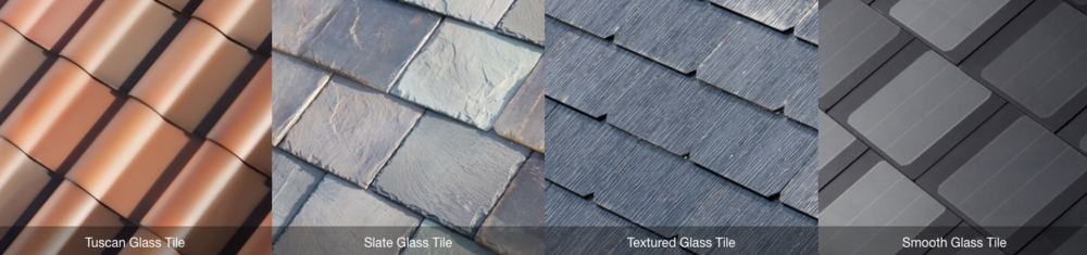 Above, the new quartet of tiles (from left): Tuscan, Slate, Textured, and Smooth Glass.
