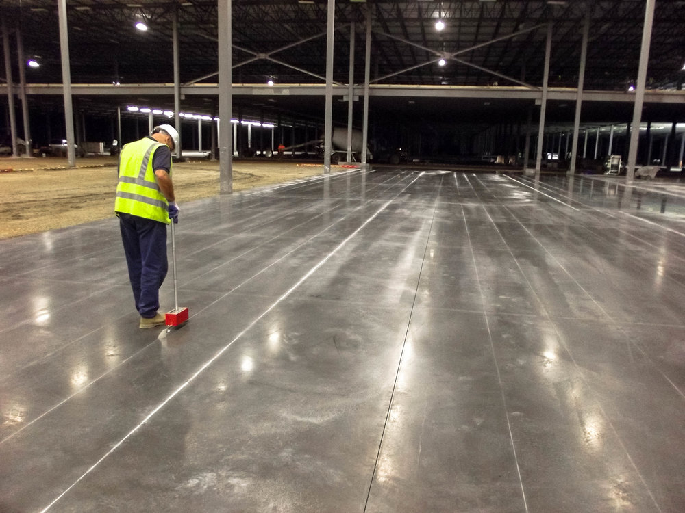 The Lithko team used a laser screed approach on a Macy's distribution warehouse in West Virginia.