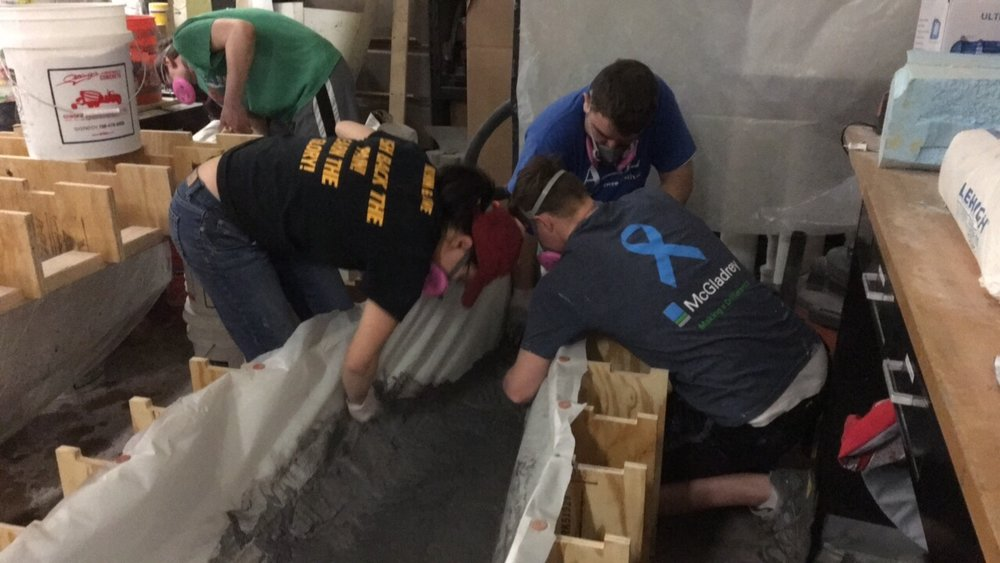 Packing the mold with our concrete mixture. Read more about what we used in part 1!