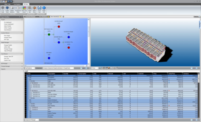 BIM-based estimating entails the use of 3-D models to extract takeoff quantities, which are then plugged into programs such as Vico Office Suite (seen here) to calculate costs much more quickly than with pencil and paper. (Image courtesy of Vico Software)