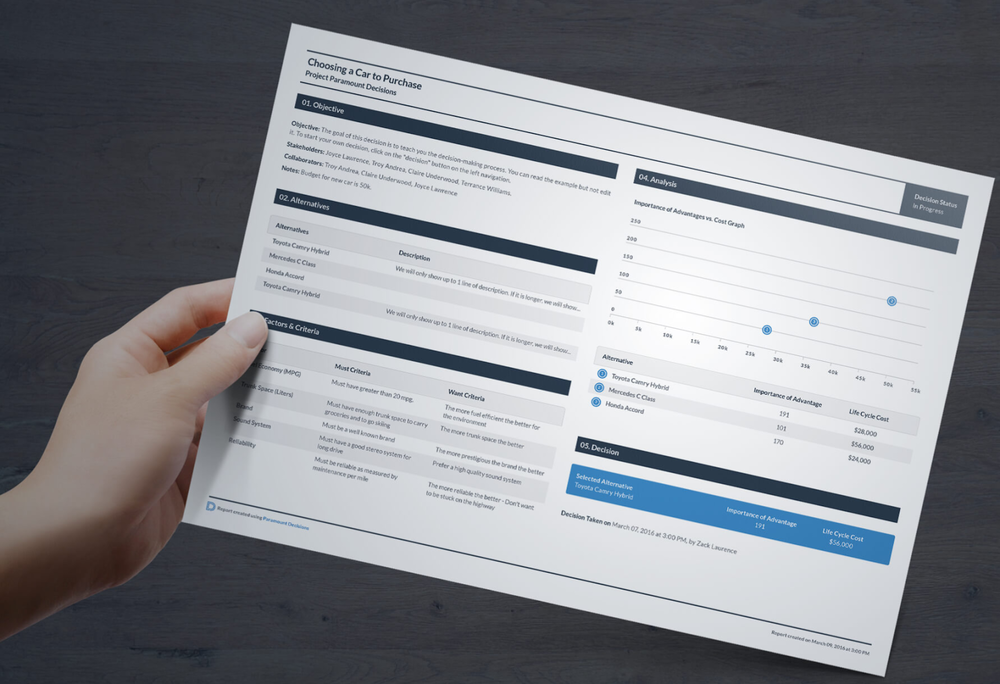 After running a decision through Paramount Decisions' CBA software, users can print out helpful single-page documents that help break the decision down for others. (Image courtesy of Paramount Decisions)