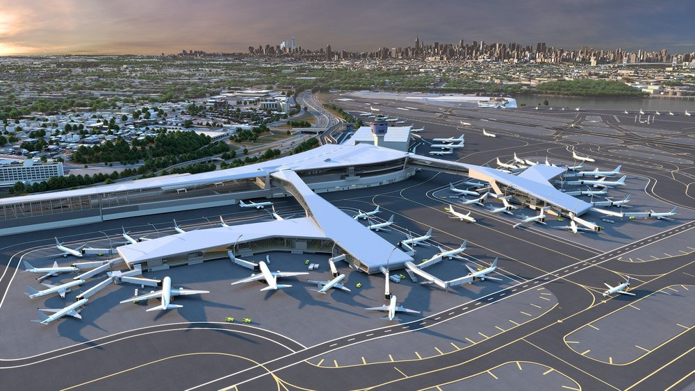 The new Terminal B that Skanska is building at LaGuardia Airport is part of a larger $4 billion P3 project. Such design-build projects give contractors a better seat at the table from the beginning of the work and help prevent excessive design changes. (Image courtesy of LaGuardia Airport)
