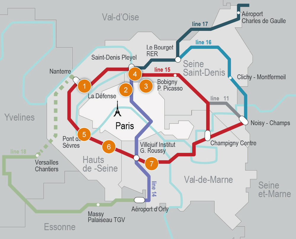 All mapped out:The Grand Paris Express calls for the addition of four new Metro lines and the extension of two existing lines. Numbered areas denote districts that the $29.5 billion project is expected to spawn, including a center dedicated to business (No.1). Upon completion, the Metro will extend to major regional airports.(Image courtesy of JLL)