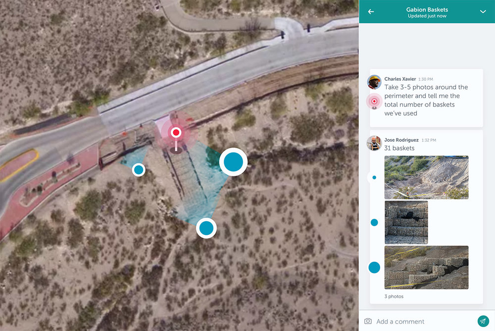 """Cofounder and CEO Brian Saab describes Unearth Labs' software as """"Slack meets Google Earth."""" It's facilitating better communication between workers in the field and the office. (Image courtesy of Unearth Labs)"""