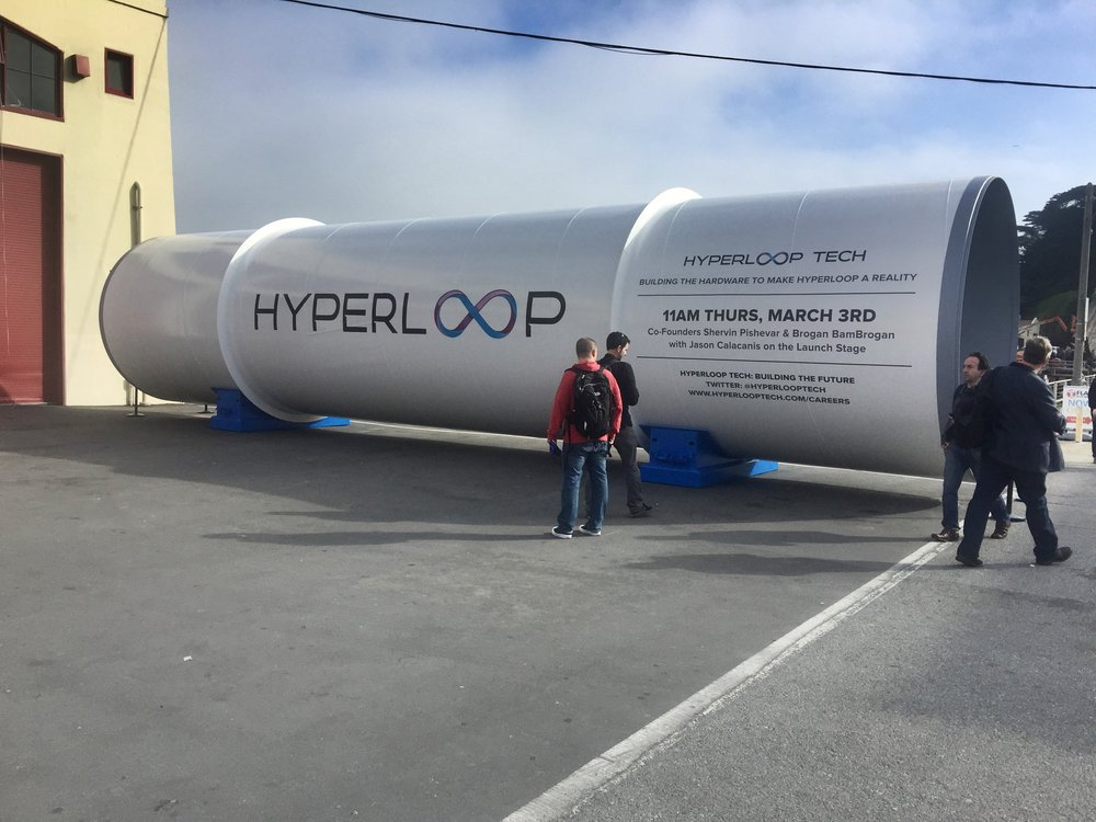Viewers inspect a piece of Hyperloop tubing at the launch festival in 2016. (Photo by Kevin Krejci)