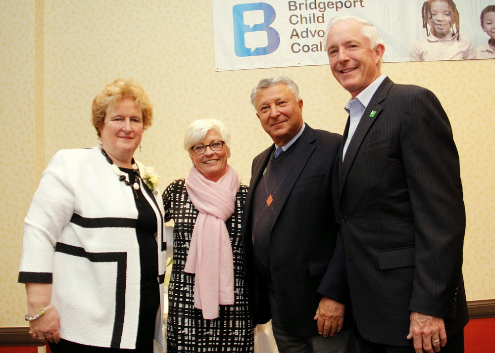 Honoree Superintendent Fran Rabinowitz, BCAC Executive Director Mary Pat Healy, Norma F. Pfriem Trustee Paul Miller and Bridgeport Mayor William Finch