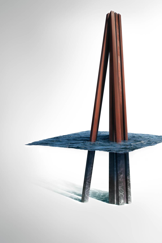 Neuf lignes obliques - Bernar Venet
