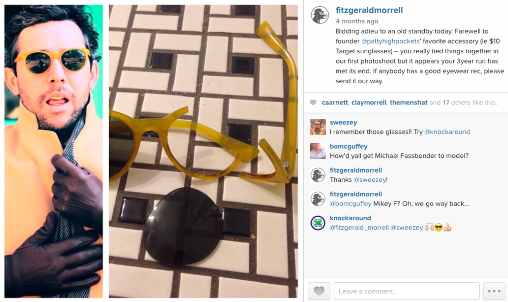 "FitzGerald Morrel Instagram, ""the day the sunglasses died"""