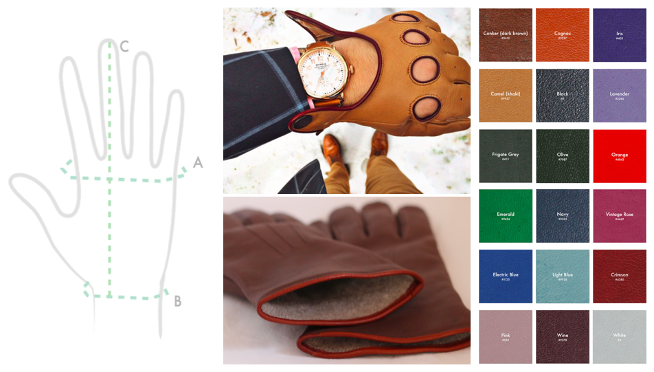 "Our goal is to help you design your perfectly-styled & fitted gloves. And that IS possible.  - You don't have to suffer through gloves that are too snug or too loose, or have that weird webbing in between your fingers. - You have MORE COLOR options that just black or brown. - You have MORE STYLE options than just the standard department store ""winter"" glove."