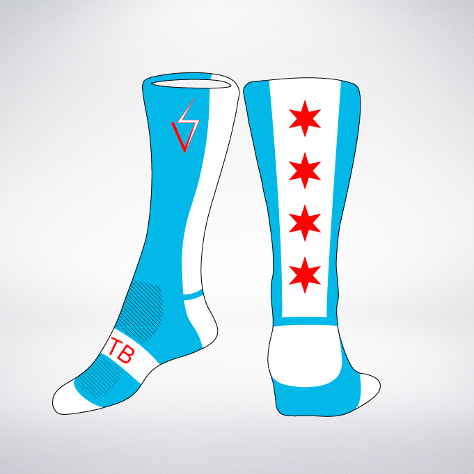 Sock Designs    These Chicago flag-themed socks feature the iconic six-pointed Chicago flag stars knitted in red against a white stripe that is accented by a surrounding blue stripe. I create the designs on Illustrator first, then send over to a printer.