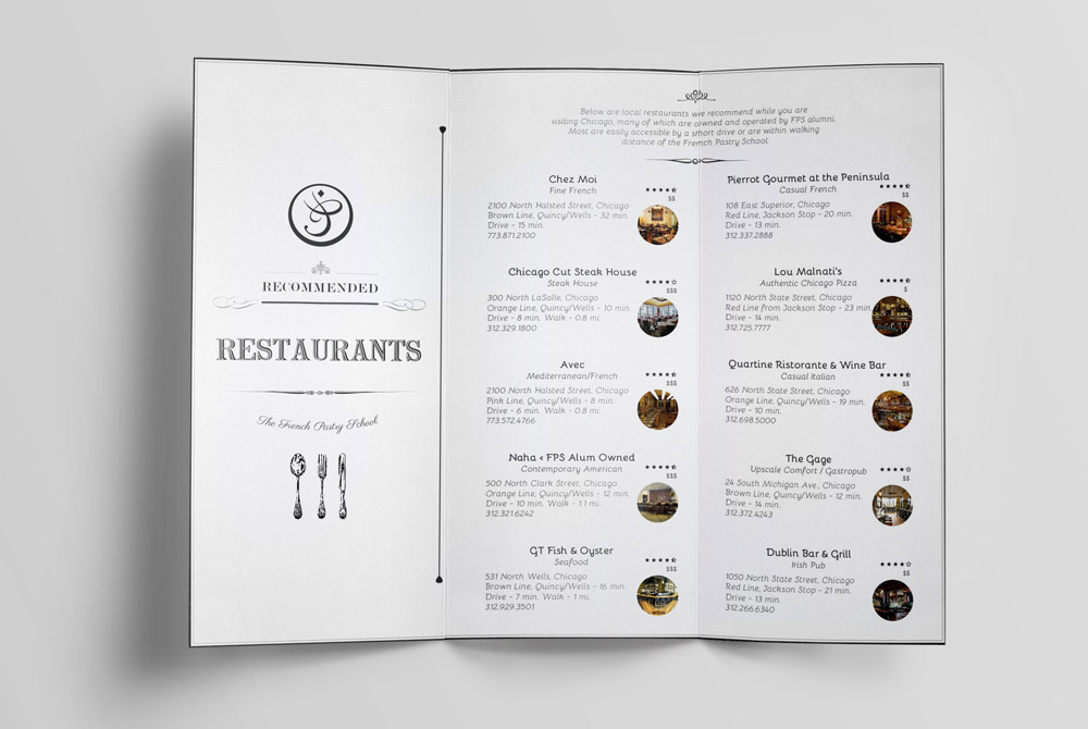 Recommended Restaurant Trifold
