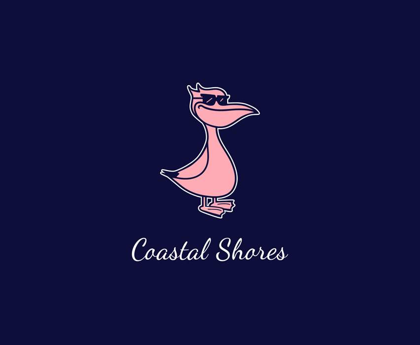 "Coastal Shores    Coastal Shores is a clothing line specializing in Greek Life Apparel at Arizona State University. They requested a logo for ""a chill pelican with a beer belly and a Vineyard Vines Vibe."""