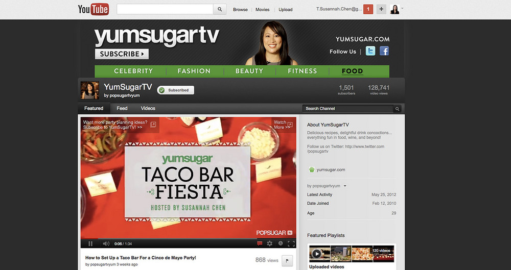 I served as the face of the YumSugarTV YouTube channel. (see the  Cinco de Mayo taco bar fiesta video  pictured below!).