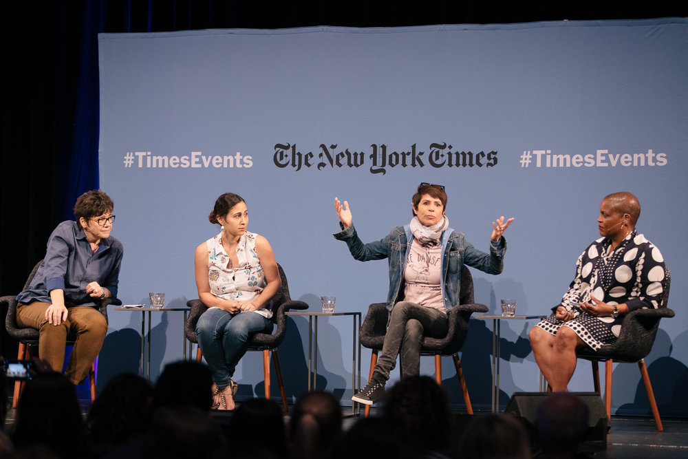 Left to right: Moderator Kim Severson, Reem Assil, Dominique Crenn, and Tanya Holland. Photo Credit:  Peter Prato