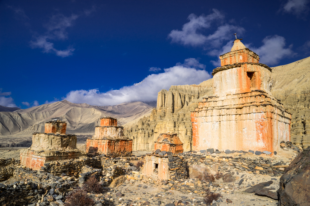 Chorten and temple