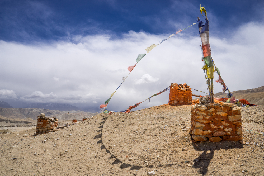 Chorten with prayer flags