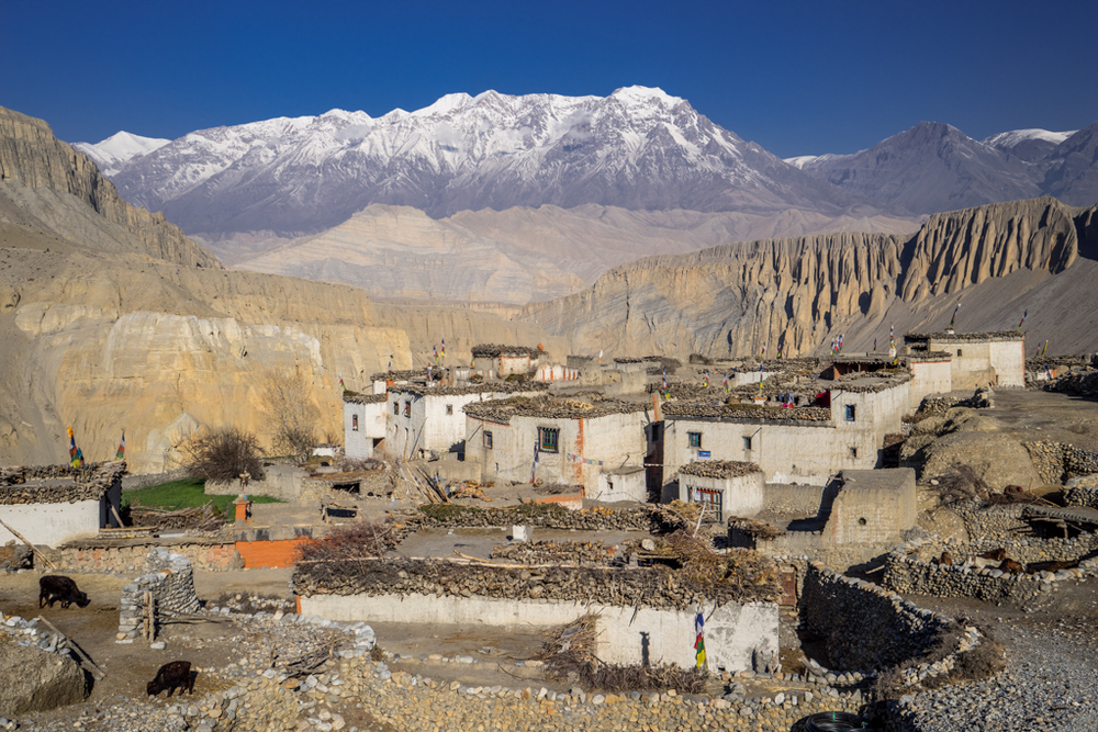 Typical little village in Mustang