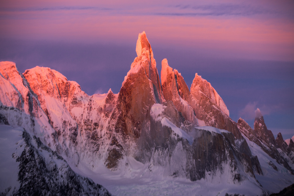Red morning clouds and Cerro Torre