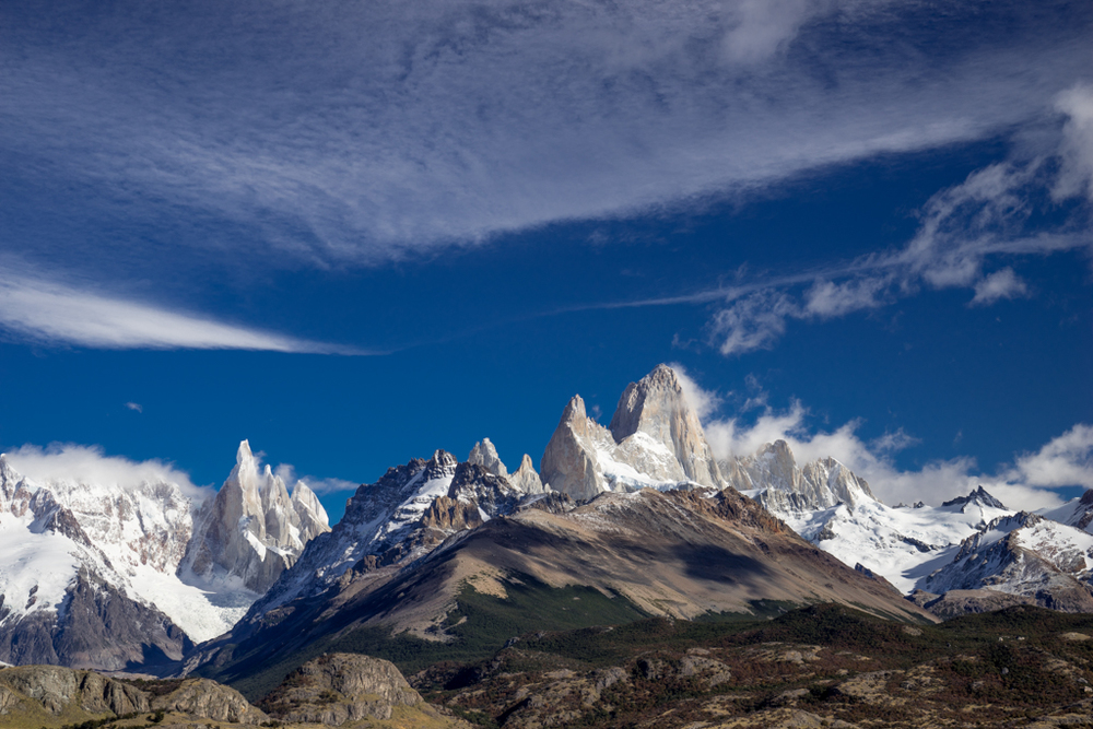 Panorama Cerro Torre and Cerro Fitzroy