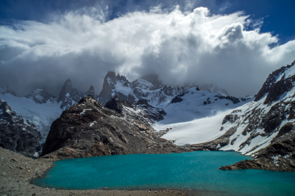 Cerro Fitzroy surrounded by clouds