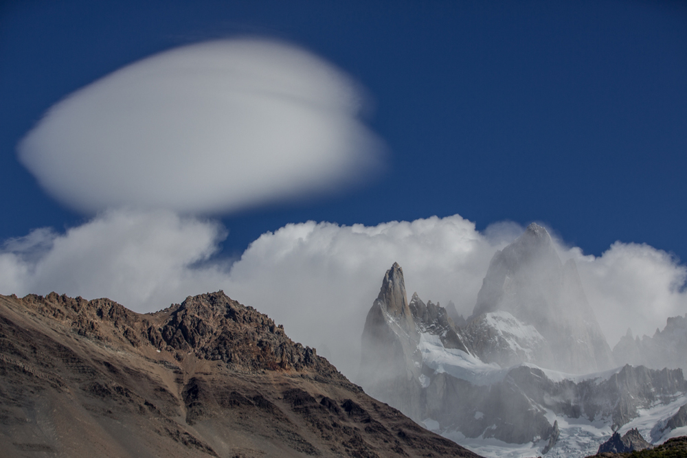 Lenticular clouds approaching from the ice field