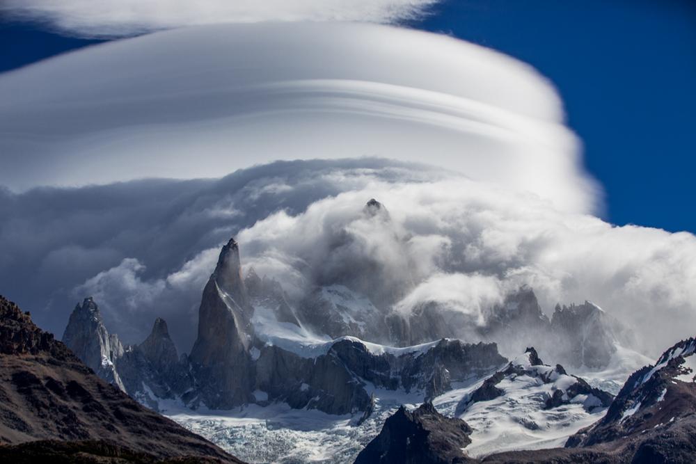 Cerro Fitzroy hidden behind clouds
