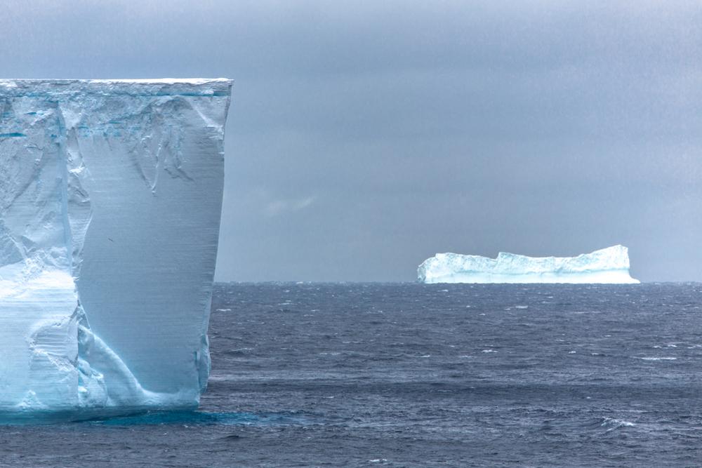 Huge blue icebergs