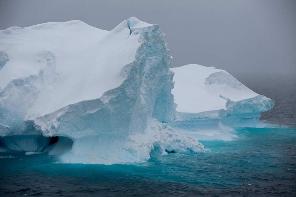 Green-colored ice of a huge iceberg