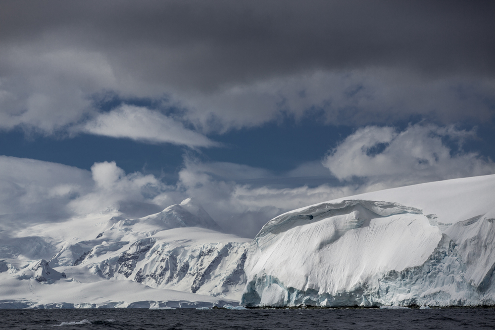 Dramatic clouds and massive glaciers