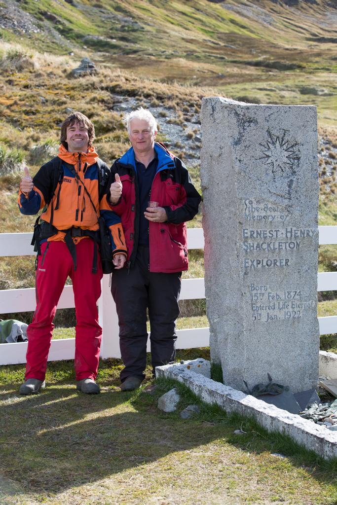 Frank & Jonathan at the grave of Sir Ernest Shackleton