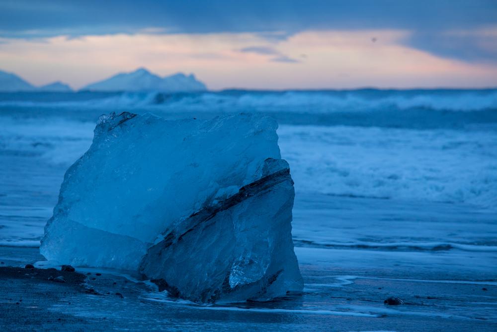 Huge ice block on the beach