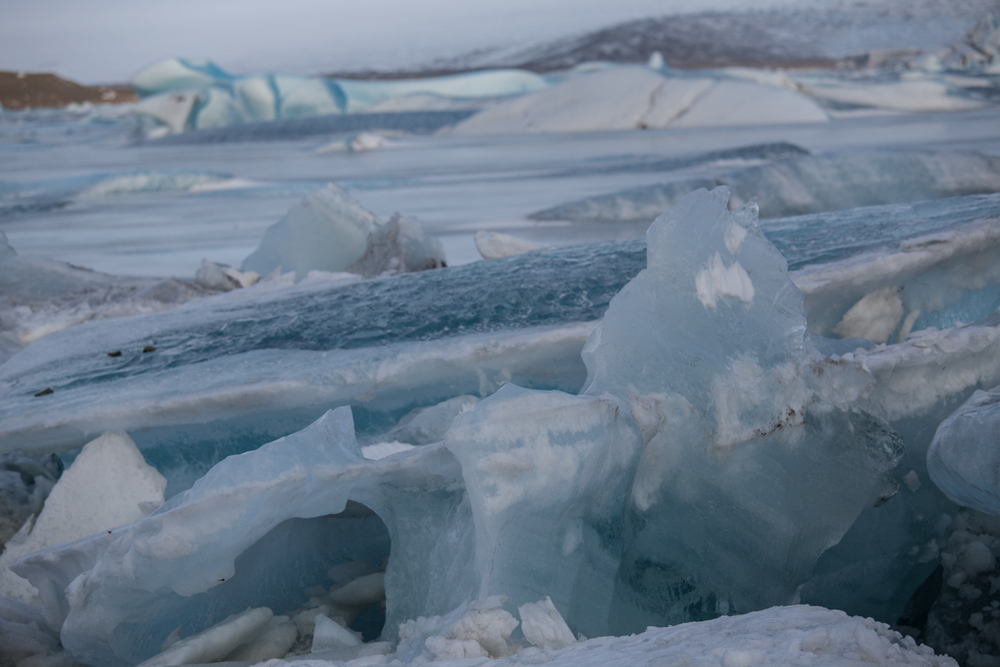 Ice blocks in blue colors