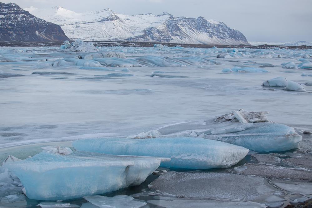 Frozen Jökulsarlon in South Iceland