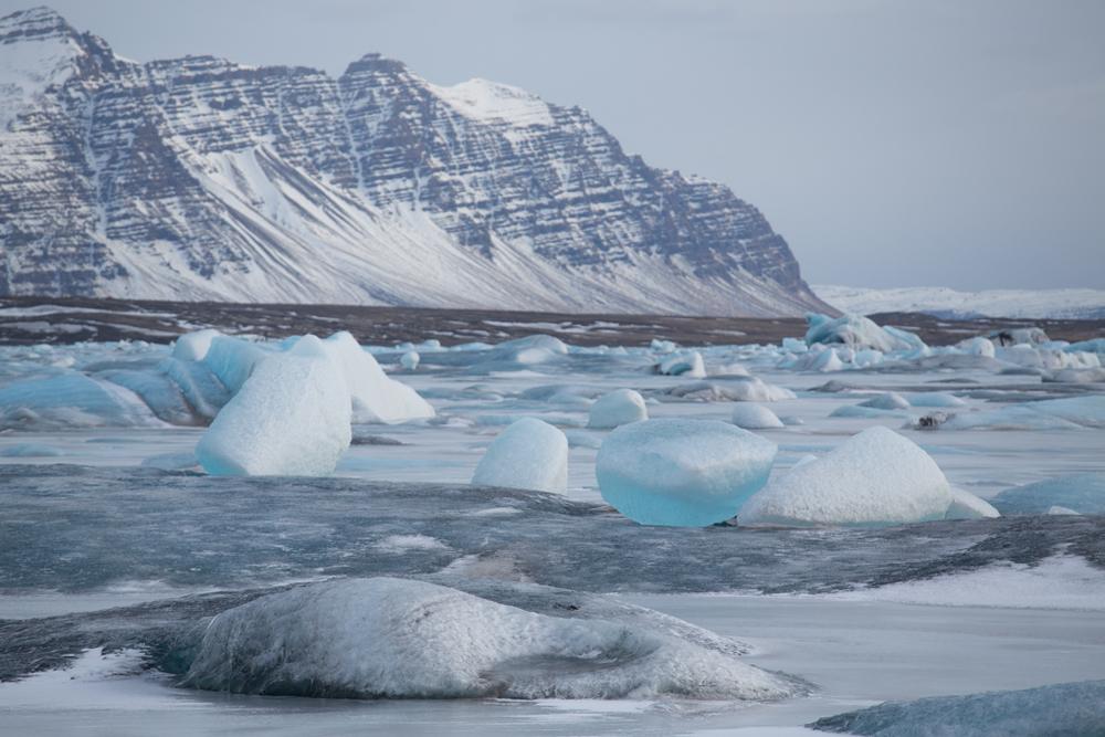 Iceblocks on frozen Jökulsarlon