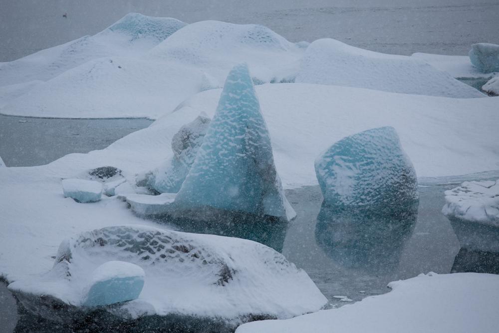 Icebergs in snow