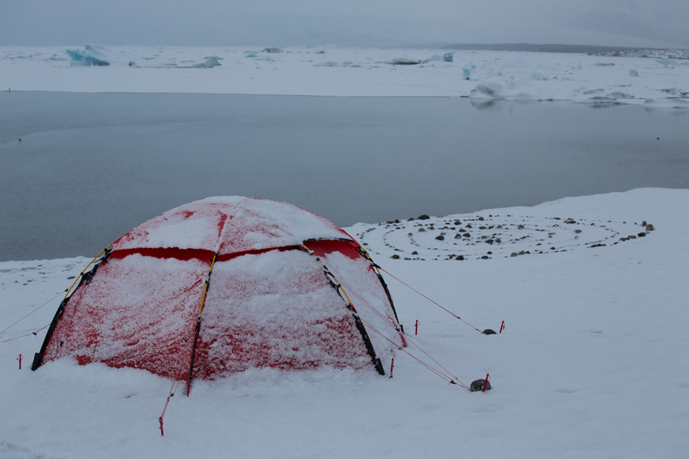 Tent after snowfall