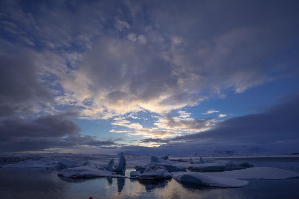 Beautiful sky on Jökulsarlon