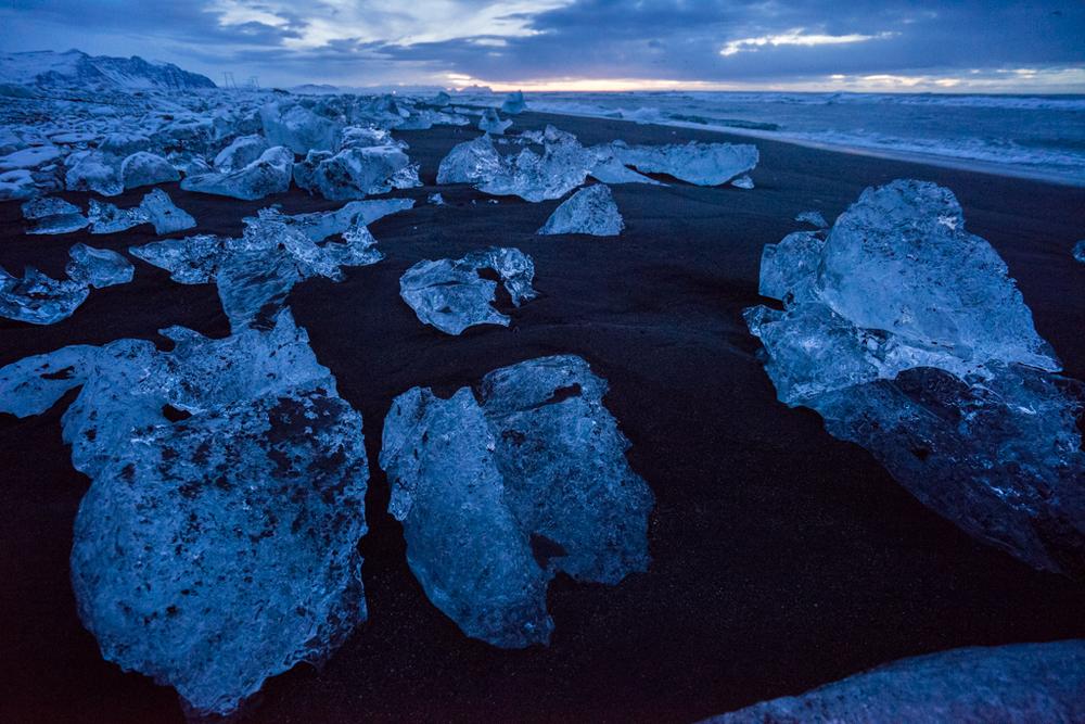 Stacks of ice blocks