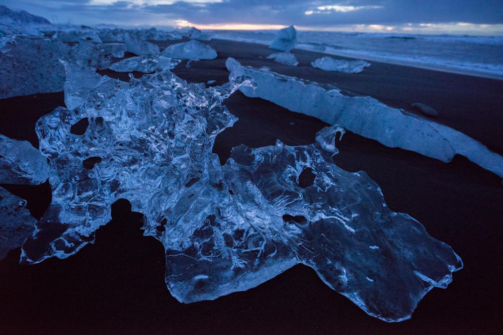 Beautiful ice block on the beach