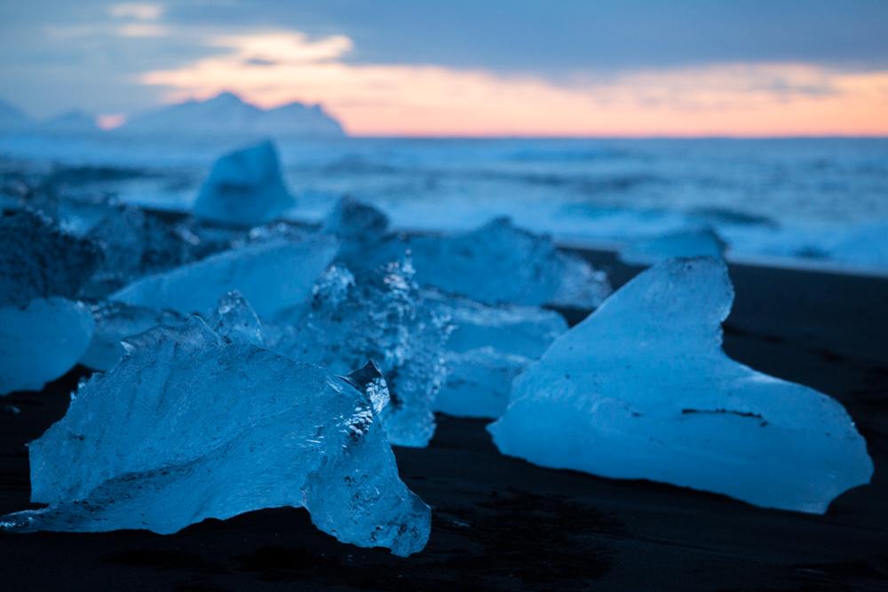 Big iceblocks on the beach