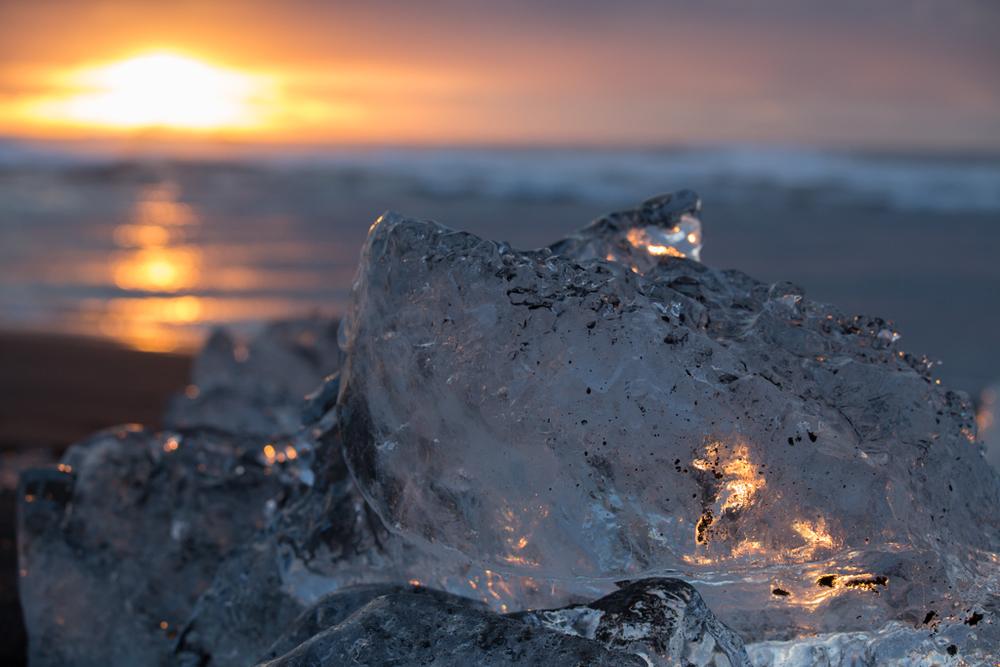 Early light shining on a bigger ice block