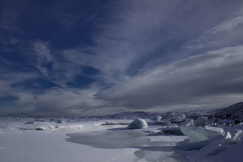 Frozen ice and clouds on Jökulsarlon