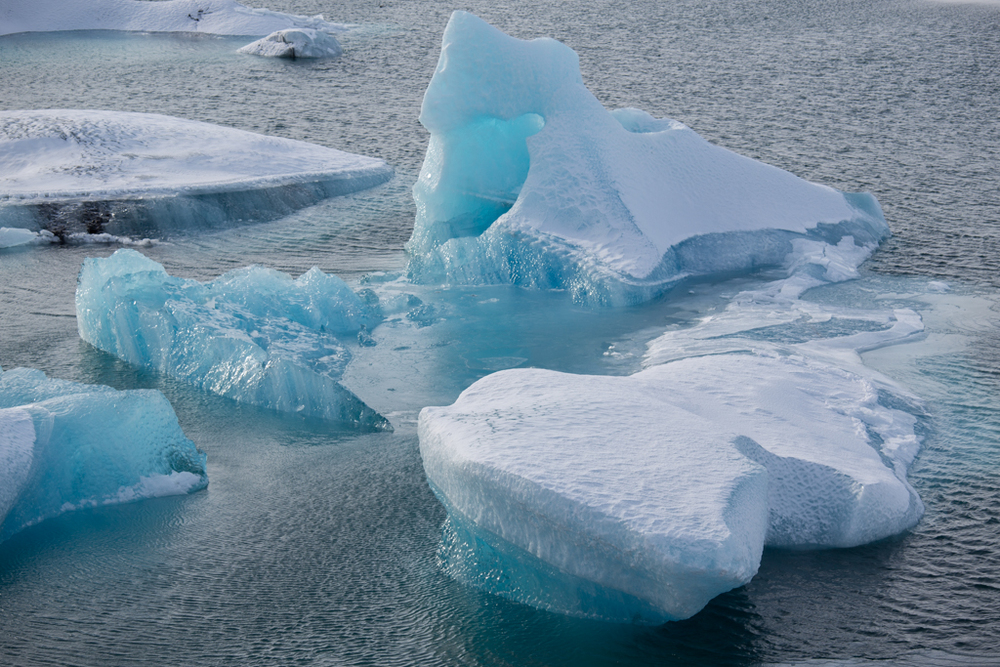 Icebergs seen from hill