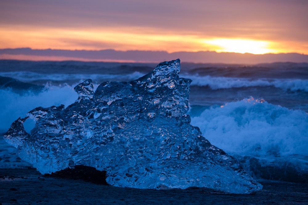 Sunrise and a crystall iceblock