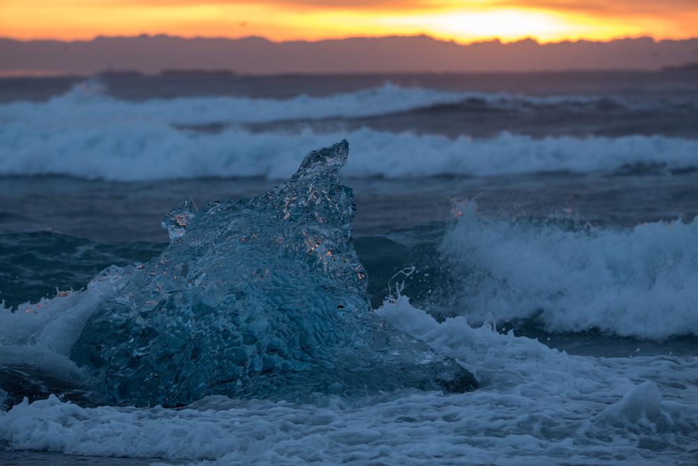 Sun, waves and an ice block