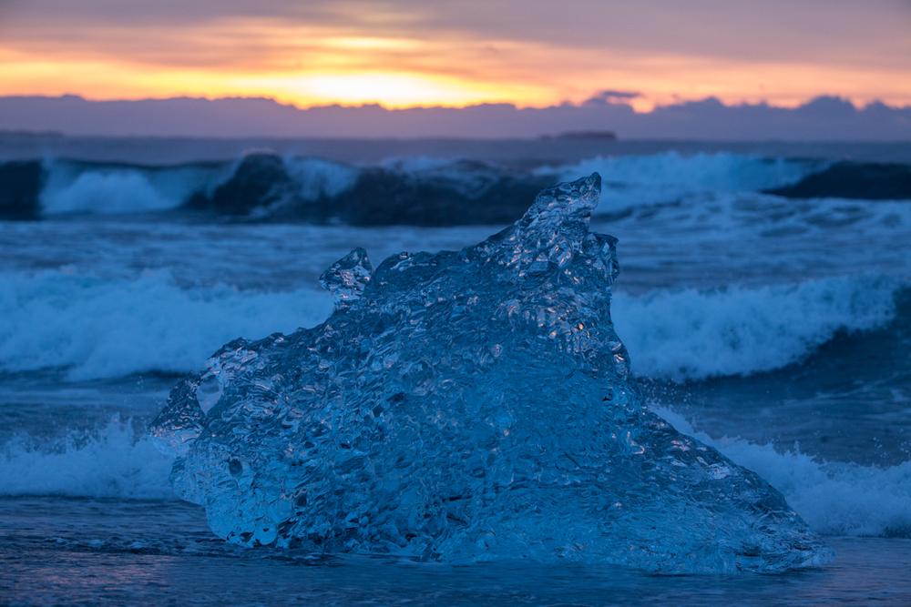 Crystal ice on the beach