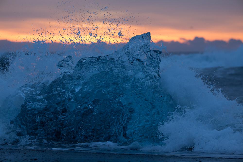 Splashing water on an ice block