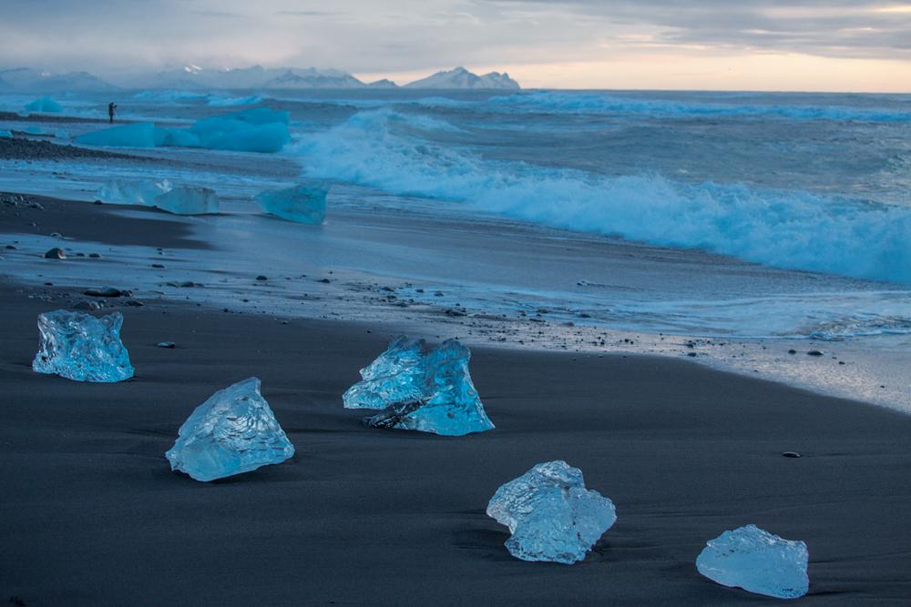 Blue Iceblocks on the beach